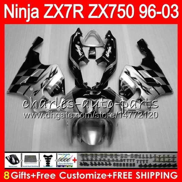8gift 23color for kawa aki ninja zx7r 96 97 98 99 00 01 02 03 18no49 black ilver zx750 zx 7r zx 7r 1996 1997 1998 2001 2002 2003 fairing