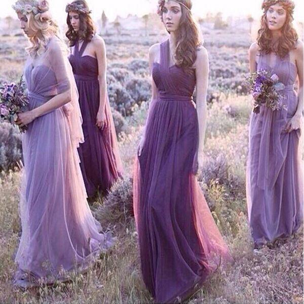 Tulle long convertible bride maid dre e lace up 2020 beach wedding party dre new bride maid dre purple
