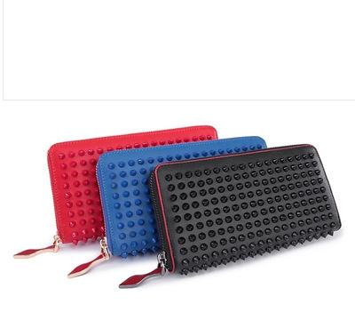 Luxury Brand Designer Genuine Leather Rivet Red Long Purse Wallet Men Women Zipper Full Grain Leather Card Holder