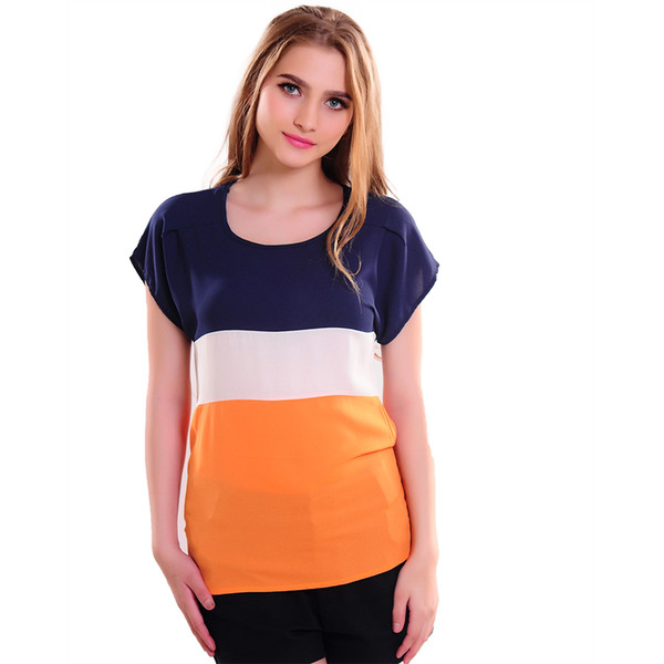Wholesale-Hot Sale 2016 Women Shirts Fashion T-Shirts Ladies Shirts Red Green Stripe Color Lady Short Sleeve Plus Loose Size Tops T Shirts фото
