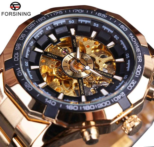 Winner Top Brand Luxury Full Golden Men Automatic Skeleton Watch Mens Sport Watch Designer Fashion Casual Clock Men