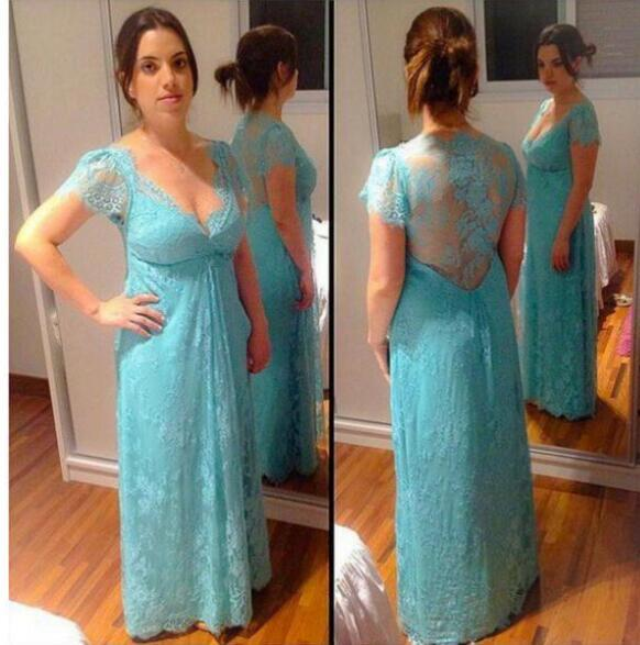 2017 Couture Lace Mother Of The Bride Dresses Grooms Cap Sleeves Mint Green Empire Illusion Back Sexy V-neck Women prom Party Gowns