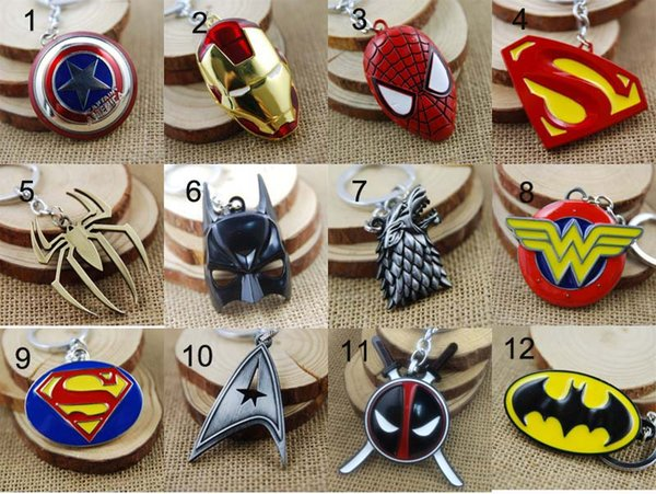 Super Heroes Captain America Superman Spiderman Batman Iron Man Game of Thrones Keychain Key rings Fashion Jewelry Christmas Gift Dropship