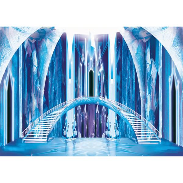 Интерьер Замороженный Замок Фотографии Фонов Принцесса Голубой Ледяной Мост Лес