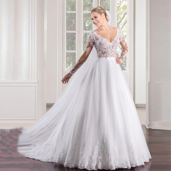 Платье-де-Noiva См Через лифа A-Line Сексуальная Длинные рукава Свадебное платье Круже фото