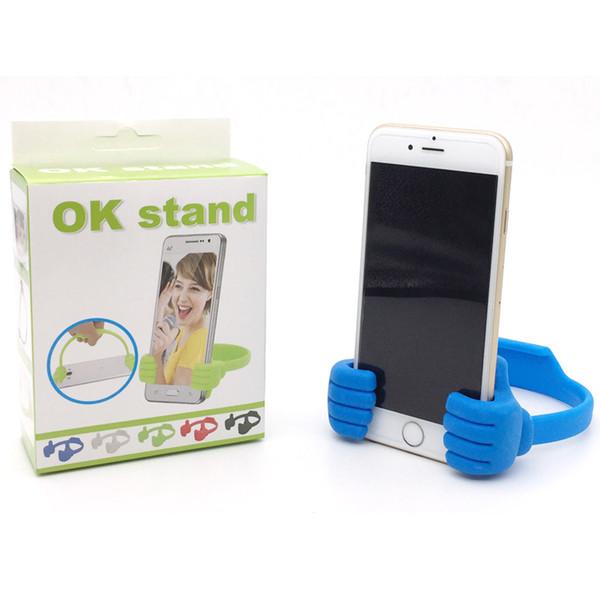 Универсальная подставка для большого пальца OK Stand для настольного крепления для iPhone 7 Plus SAMSUNG S8 Plus с розничной коробкой