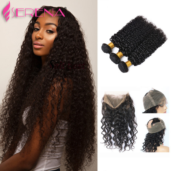 360 lace frontal with bundle kinky curly with clo ure wet and wavy lace frontal clo ure peruvian hair with 360 clo ure curly hair bundle