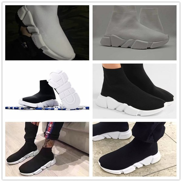 2018 new Speed sock high quality Speed Trainer running shoes for men and women sports shoes Speed stretch-knit Mid sneakers ,size Eur 36-45