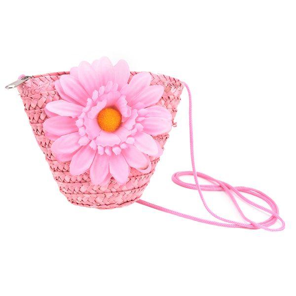 wholesale- more colors summer girls beach bags cute flower coin purses straw bag kawaii kids messenger bags (406626311) photo