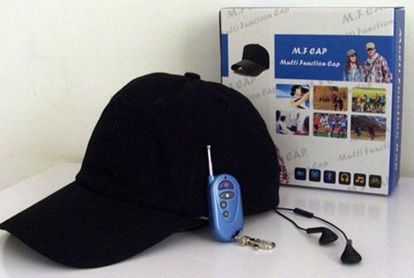 Remote control cap camera with mp3 player bluetooth hd hat dvr mini dv pinhole camera video recorder black