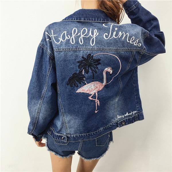 Женская Куртка С Длинным Рукавом Назад Фламинго Вышивка Верхняя Одежда Мотоцикл