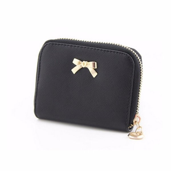 wholesale- women short wallet bowknot zipper solid leather girl purse coin purse wearable clutch bag new bolsas femininas #5002 (402632525) photo