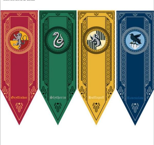 48cmx150cm Гарри Поттер Гриффиндор Слизерин Hufflepuff Флаг Хогвартс колледж Флаги Home Decor П фото