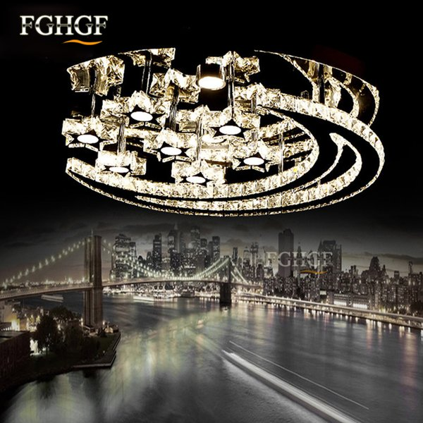 Modern led cry tal chandelier light moon tar cry tal flu h mounted chandelier lamp living room lu tre for bedroom dining room