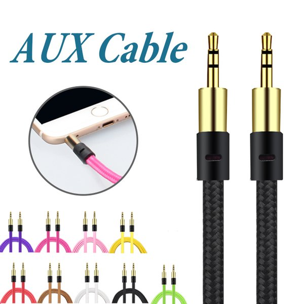 Braid 3 5mm auxiliary cord male to male aux cable  tereo audio cable car audio headphone jack pc ipad without package