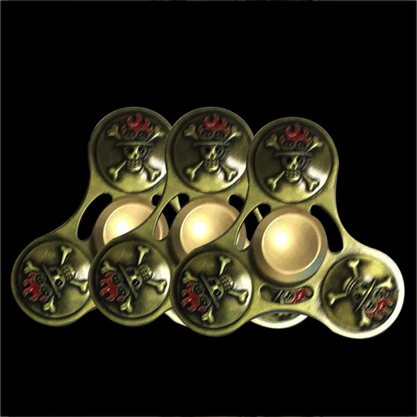 2017 Fidget Skull Fidget Spinner Metal Spinning Top Triangle Round Head Fidget Spinners Metal Finger Toy Torqbar Desk Toys Anti Stress