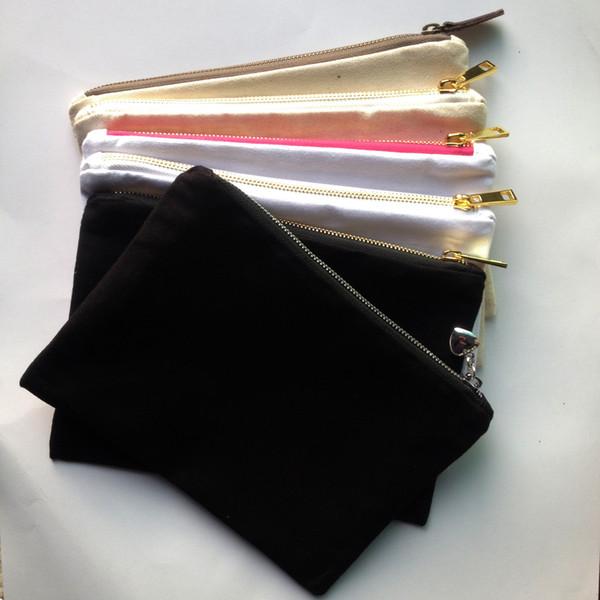 1pc 12oz пустой холст хлопка косметический мешок с золотом / серебро молнии унисекс с