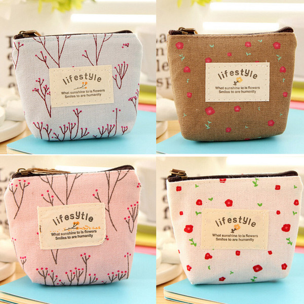 wholesale- 1 pc 4 colors vintage women girl kid baby storage cute flower floral coin canvas zipper bag change wallet purse (399651478) photo