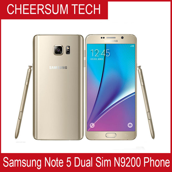 refurbished original samsung galaxy note 5 n920 dual sim unlocked phone octa core 4gb/32gb 5.7 inch 2560 x 1440