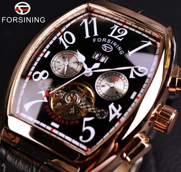 Forsining Automatic Watch Rose Gold Case Mens Watches Top Brand Luxury Montre Homme Clock Men Casual Watch Date Month Display