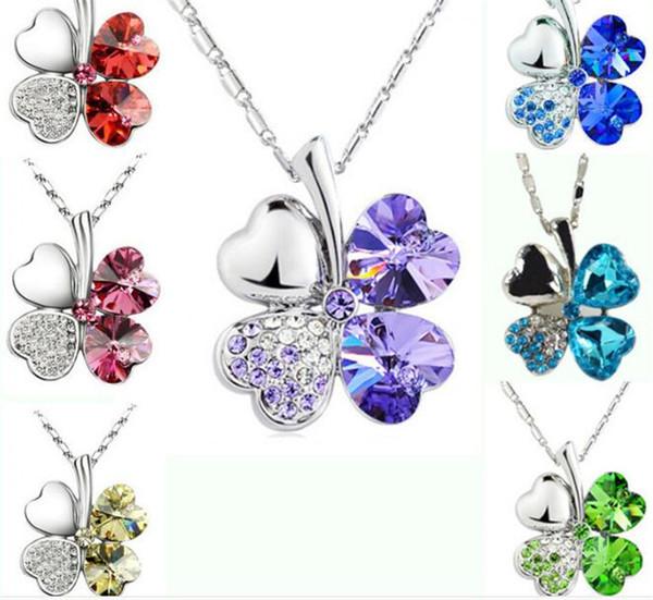 Мода лепесток ожерелье четыре листа клевера ожерелье многоцветный Кристалл горн фото