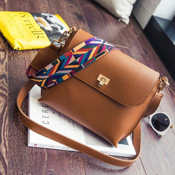wholesale- classic women leather mini shoulder bags simple flap sling crossbody messenger bags colorful wide strap handbag purses (396179454) photo