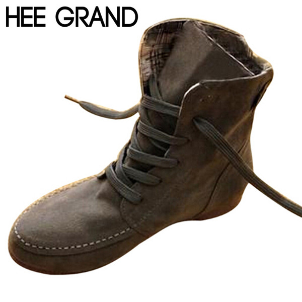 faaa / Wholesale-HEE GRAND Autumn Women Ankle Boots Fashion PU Shoes Motorcycle Boots Solid Spring Shoes Woman Martin Boot Size 35-44 XWX108