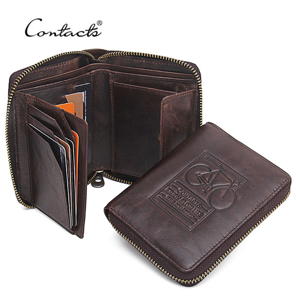 wholesale- contact's men wallets genuine leather brand design zipper purses bicycle print designer mens purses money bag with coin pock (400803001) photo