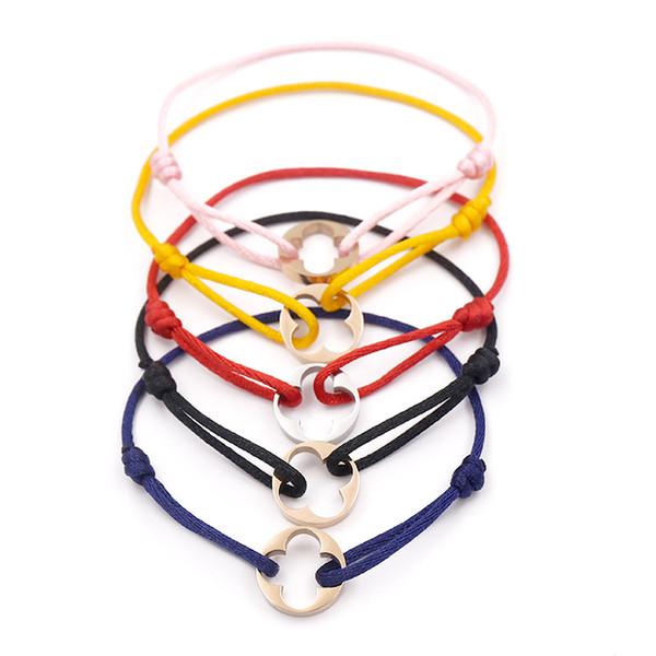 Мода Марка женщины лист клевера браслет ручной веревки цепи браслет очарование т фото