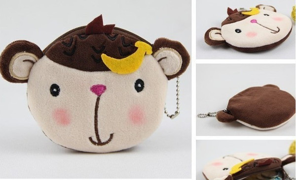 wholesale- 10pcs banana monkey bag plush coin purses & wallet pouch case ; pendant bags beauty holder handbag (405415329) photo