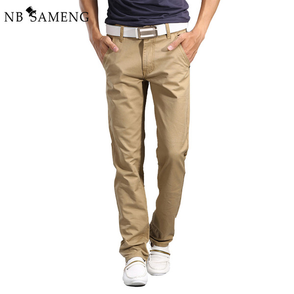Wholesale- 2017 New Fashion Mens Straight Cargo Pants Chinos Men Casual Slim Fit Spring Army Green Trousers Clothing Big Size 13M0554