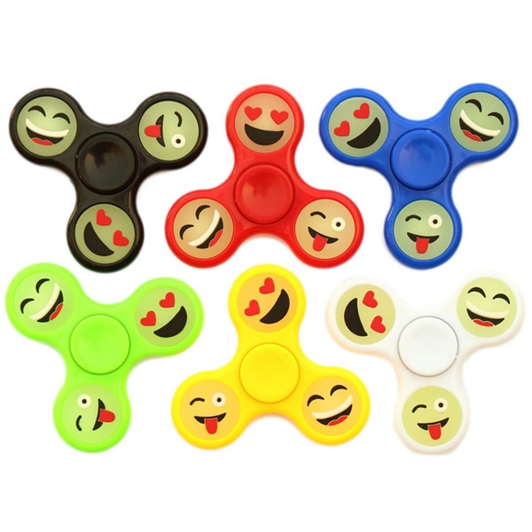 2017 Glow Emoji Fidget Spinners Triangle Design Plastic Hand Spinner EDC Toys For Decompression Anxiety Spinner