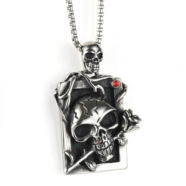 Мужская женская нержавеющая сталь Punk Rose Skull Подвеска с бесплатной цепочкой Avivahc 170