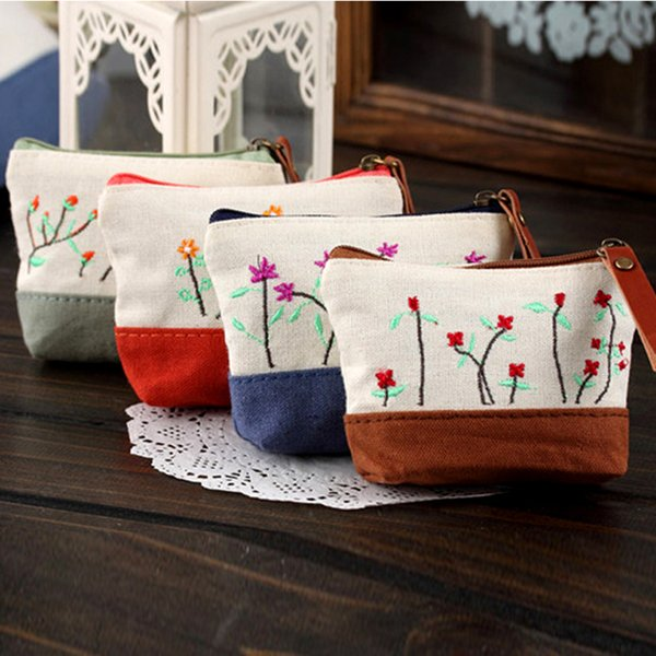 wholesale- plum fashion casual cotton embroidered coin purses lovely new mood for love women wallets 10.5*7.5cm (400741399) photo