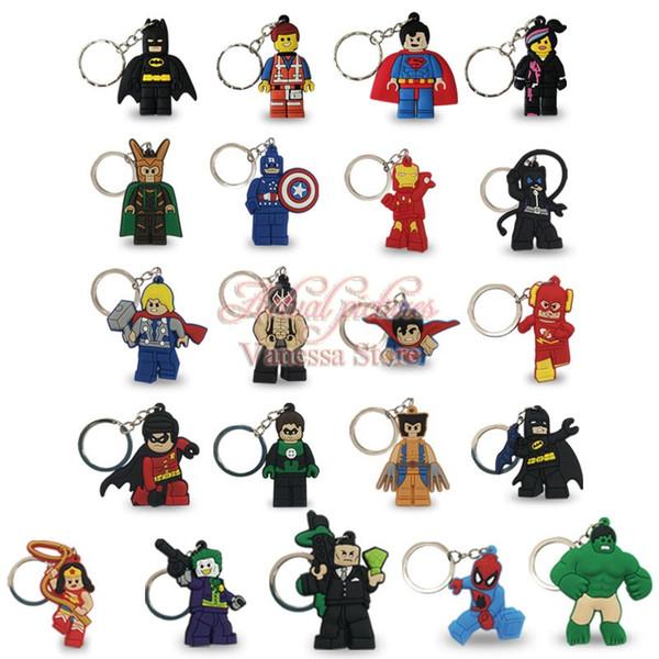 Super hero wonder woman captain america hulk keychain cartoon anime action figure key ring pvc kid key chain pendant key holder toy gift