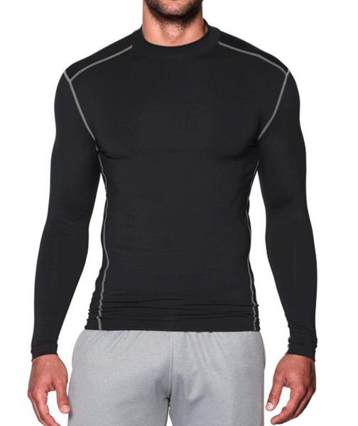 New ca hmere warm fa t dry port tight long leeved high neck men 039 autumn and winter running training fitne clothing port wear
