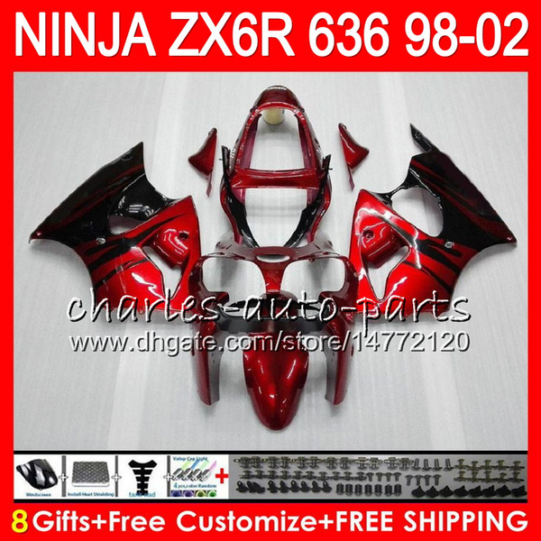 8gift for kawa aki ninja zx6r 98 99 00 01 02 zx636 31hm10 zx 6r zx 636 600cc zx 636 zx 6r 1998 1999 2000 2001 2002 fairing kit red flame