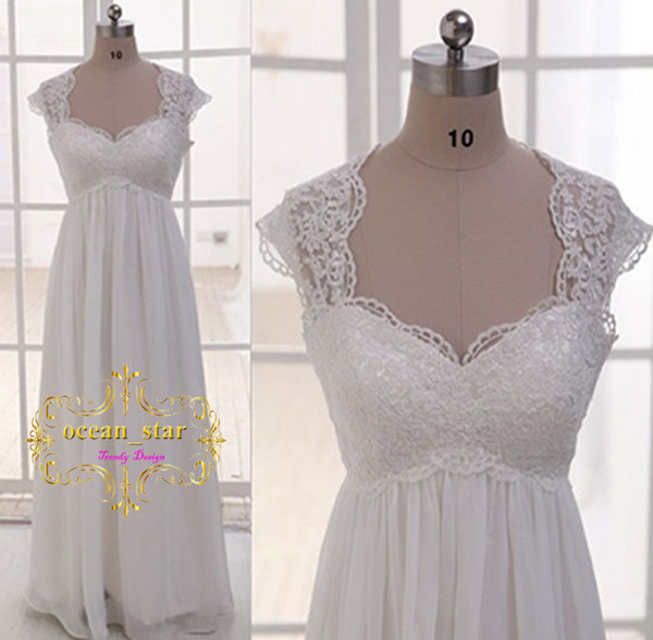In tock beach wedding dre e empire weetheart neck chiffon with applique cap leeve lace up back vintage 2017 bridal gown