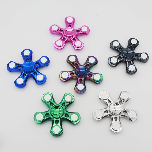 New Hot Five Angle Fidget Spinners shinning Colors Hands Spinner Rotation Long Time Noise Stress Spinning Top Black free ship