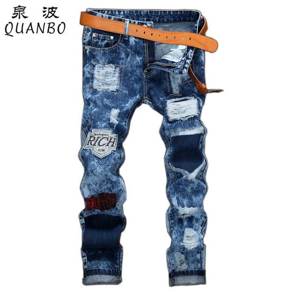 Wholesale New Arrival Fashion Men Biker Jeans Distressed Slim Denim Pants Pleated Motorcycle Joggers Male Cargo JeanTrousers