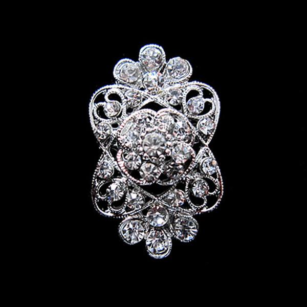 Серебряная брошь с цветочным кристаллом, покрытая родием