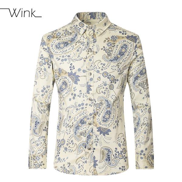 Wholesale- Men Casual Dress Shirts Cotton  Designer Stylish Long Sleeve Slim Male Print Tees Male Big Size M-5XL Camisa Masculina E224