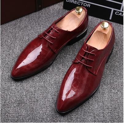 2018 new fa hion black red genuine leather men dre hoe male bu ine oxford hoe original brand men wedding hoe nxx60