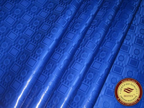 Высокое качество Royal Blue Bazin Riche, Германия Качество 10 ярдов / сумка Гвинея Парча Ткан