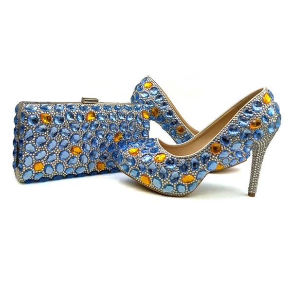 Синие Свадебные Туфли Rhinestone Свадебные Туфли с Сцеплением Юбилейная Обувь Церемония Золушка Пром Туфли с подходящей сумкой