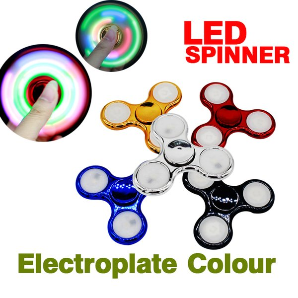 2017 Electroplate LED Fidget Plastic Spinner Hand Spinner Plastic EDC For Autism And ADHD Children Toy S020
