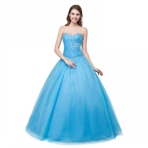 Fashionable Party Gowns Plus Size 2017 Ball Gown Sweetheart Coral Mint Blue Quinceanera Dress Cheap Sequined Beaded 2017 Tulle Dress Long