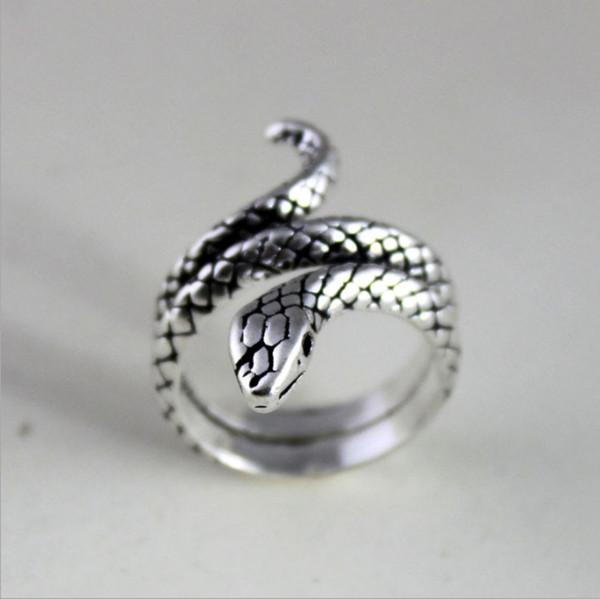 Старинные Серебряные Ретро Стерлингового Серебра 925 Змея Кольца Для Женщин Ювели