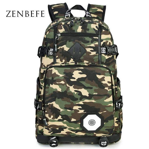 Wholesale- ZENBEFE Design Backpacks Camouflage School Bag For Teenager Bag Travel Bag For College Unisex Backpack Rucksack Daypack фото