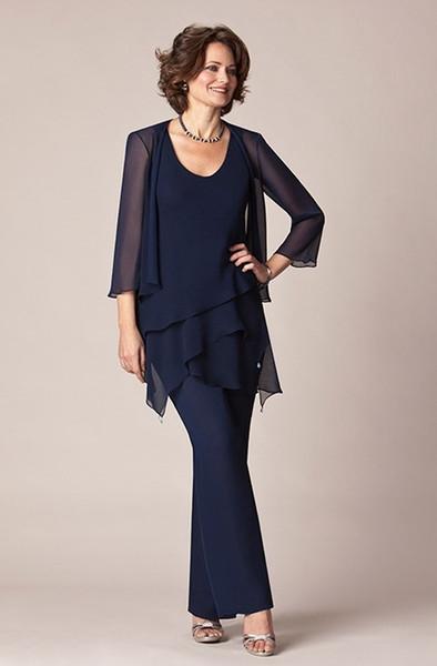 2019 темно-синий шифон мать невесты вечерние платья длинные брюки костюмы платья с